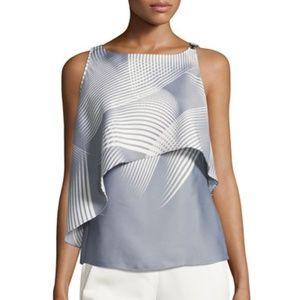 Halston Heritage abstract tiered sleeveless blouse